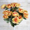 Large Open Rose Bush Artificial Silk Flowers - Coral / Orange