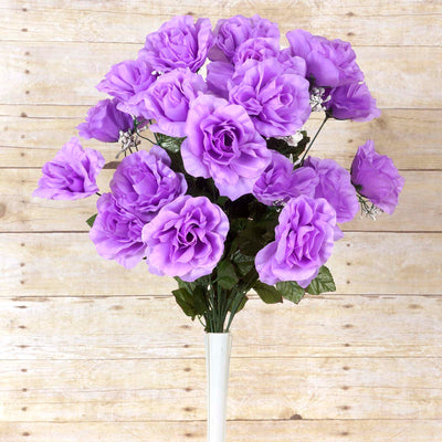 Large Open Rose Bush Artificial Silk Flowers - Lavender