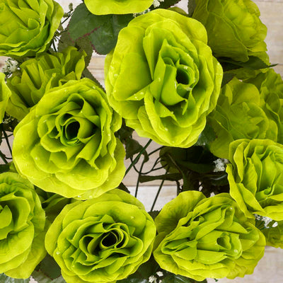 Large Open Rose Bush Artificial Silk Flowers - Lime Green