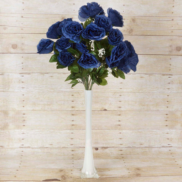 Large Open Rose Bush Artificial Silk Flowers - Navy Blue
