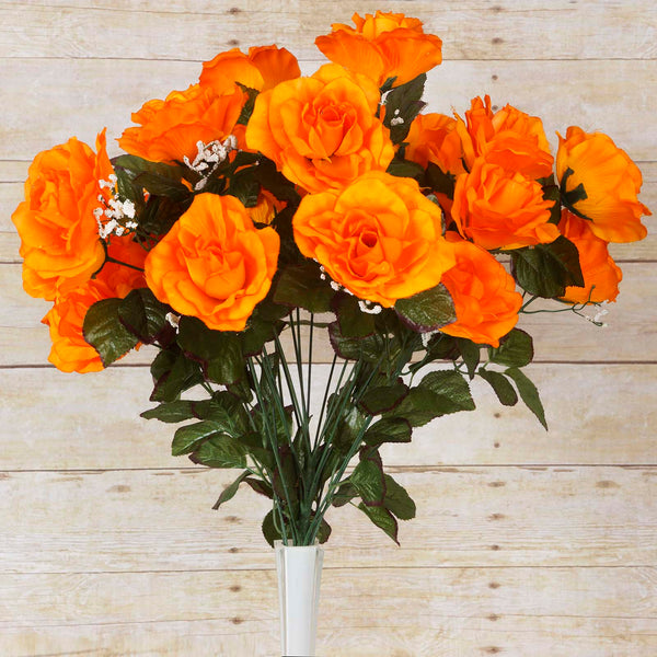 Large Open Rose Bush Artificial Silk Flowers - Orange