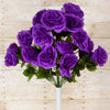 Large Open Rose Bush Artificial Silk Flowers - Purple