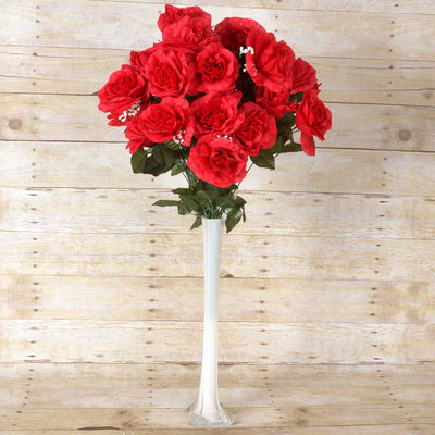 Large Open Rose Bush Artificial Silk Flowers - Red