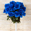 Large Open Rose Bush Artificial Silk Flowers - Royal Blue