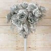 Large Open Rose Bush Artificial Silk Flowers - Silver