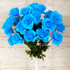 Large Open Rose Bush Artificial Silk Flowers - Turquoise