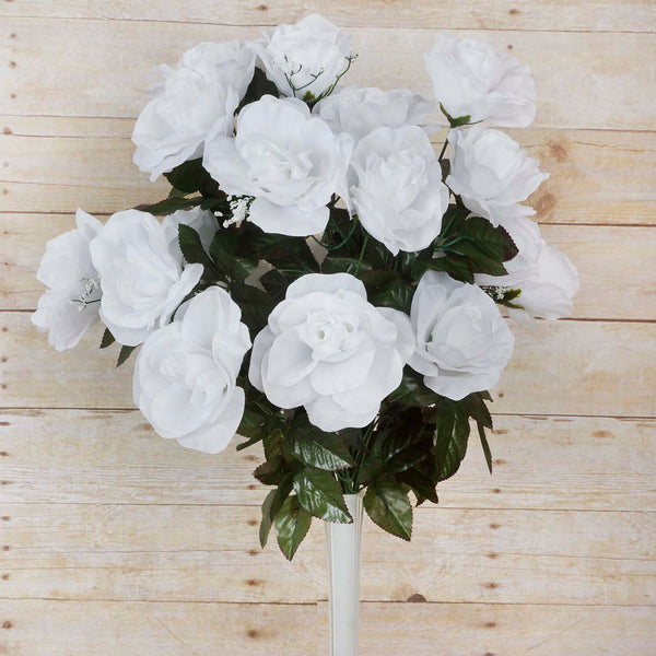 Large Open Rose Bush Artificial Silk Flowers - White