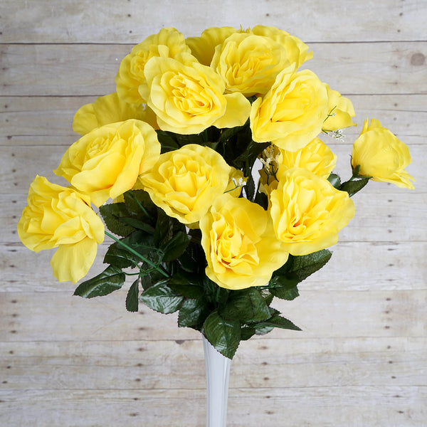 Large Open Rose Bush Artificial Silk Flowers - Yellow
