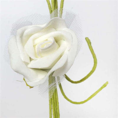 Premium Rose Bouquet Artificial Foam Flowers - Cream