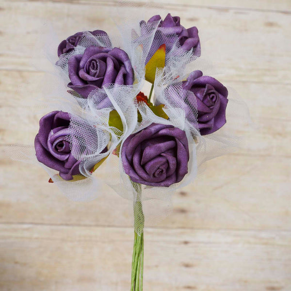Premium Rose Bouquet Artificial Foam Flowers - Purple