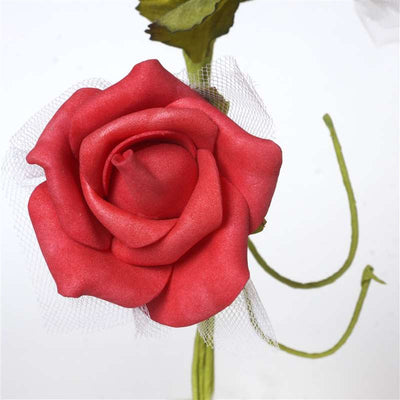 Premium Rose Bouquet Artificial Foam Flowers - Red