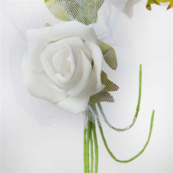 Premium Rose Bouquet Artificial Foam Flowers - White
