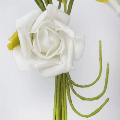 Open Rose Bouquet Artificial Foam Flowers - Cream