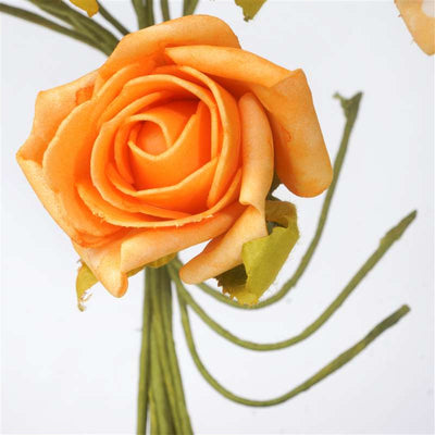 Open Rose Bouquet Artificial Foam Flowers - Orange