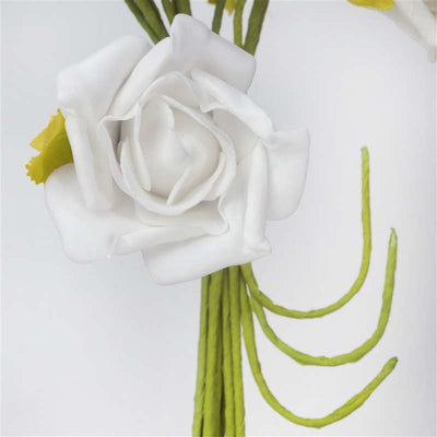 72 Artificial Silk Roses Bouquet Wedding Vase Centerpiece Decor - White