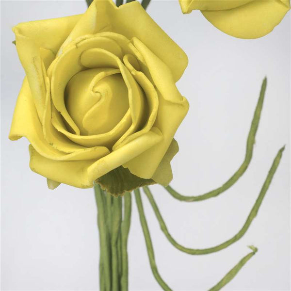 72 Artificial Silk Roses Bouquet Wedding Vase Centerpiece Decor - Yellow