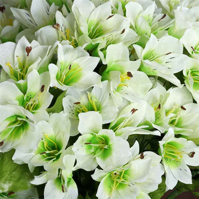 150 Wholesale Artificial Oriental Lily Flowers Bush Wedding Vase Centerpiece Decor - White