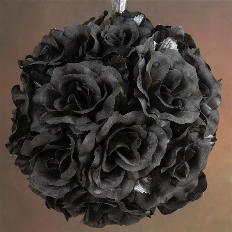 Black rose pomander kissing flower balls wedding bouquet decor 4 rose pomander kissing balls black 4 pcs mightylinksfo