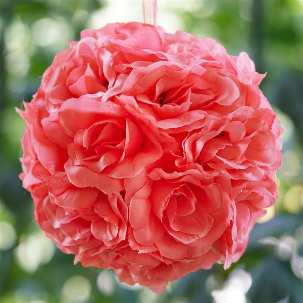 Rose Pomander Kissing Balls - Coral- 4 PCS