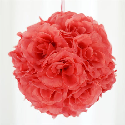 Rose Kissing Ball Artificial Silk Flowers - Coral - 4 pack