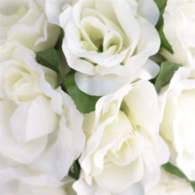 Rose Kissing Ball Artificial Silk Flowers - Cream - 4 pcs