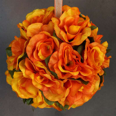 Orange rose pomander kissing flower balls wedding bouquet decor 4 rose pomander kissing balls orange 4 pcs mightylinksfo