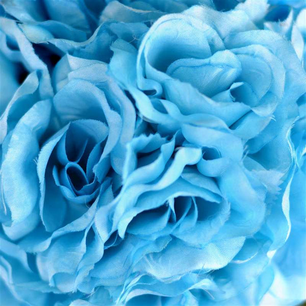 Rose Kissing Ball Artificial Silk Flowers - Turquoise - 4 pack