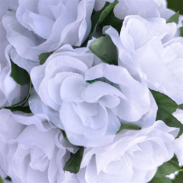 Rose Kissing Ball Artificial Silk Flowers - White - 4 pack