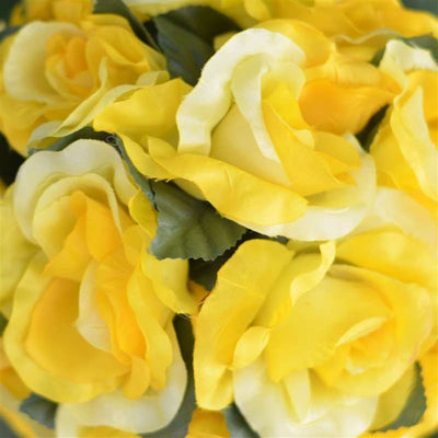 Rose Kissing Ball Artificial Silk Flowers - Yellow - 4 pack
