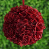 Hydrangea Kissing Ball Artificial Silk Flowers - Wine - 4 pack