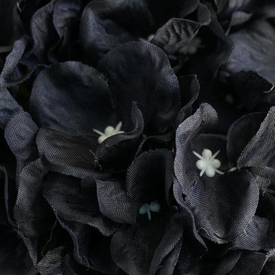 Hydrangea Kissing Ball Artificial Silk Flowers - Black - 4 pack