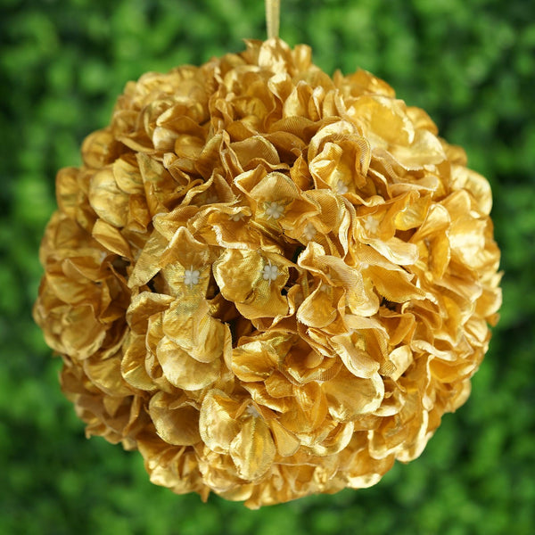 Hydrangea Kissing Ball Artificial Silk Flowers - Gold - 4 pcs