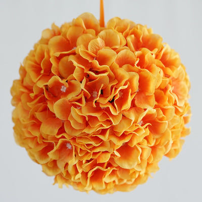 Hydrangea Kissing Ball Artificial Silk Flowers - Orange - 4 pcs