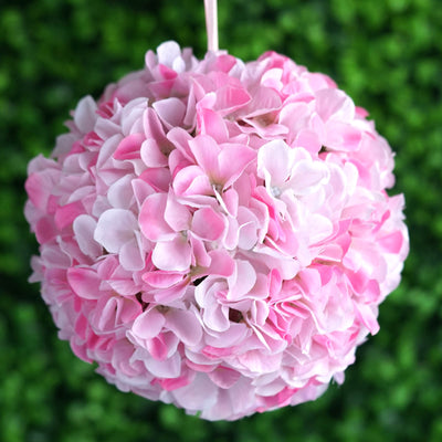 Hydrangea Kissing Ball Artificial Silk Flowers - Pink - 4 pack
