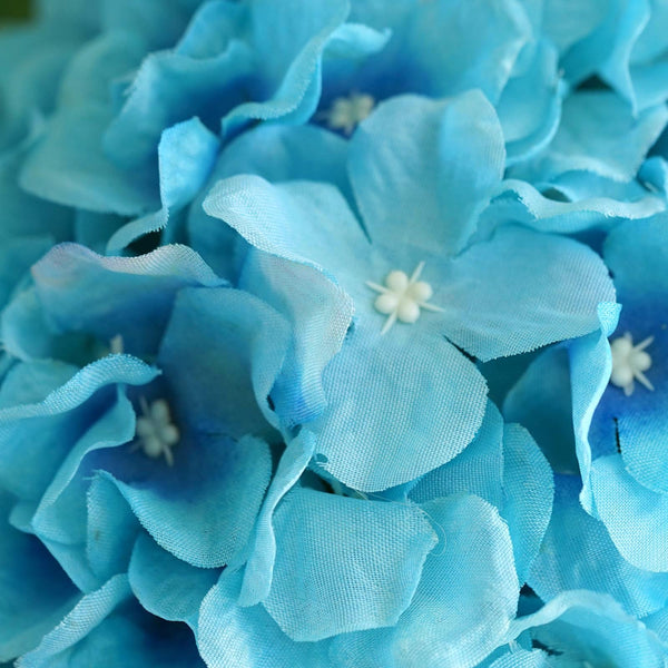 Hydrangea Kissing Ball Artificial Silk Flowers - Turquoise - 4 pcs