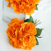 Open Rose Bouquet Artificial Silk Flowers - Orange