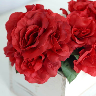 Open Rose Bouquet Artificial Silk Flowers - Red