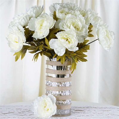 42 QUEEN Peony Flowers - Cream