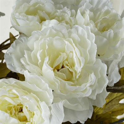 Large Peony Bush Artificial Silk Flowers - Cream
