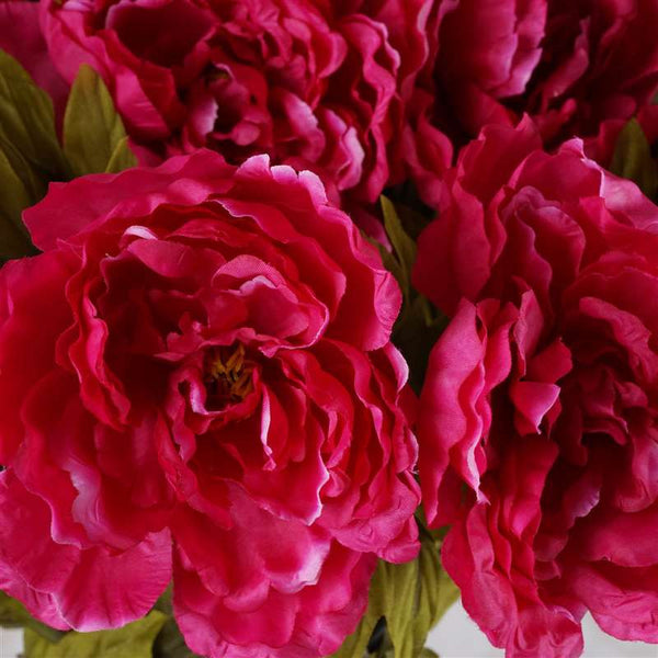 Large Peony Bush Artificial Silk Flowers - Fuchsia