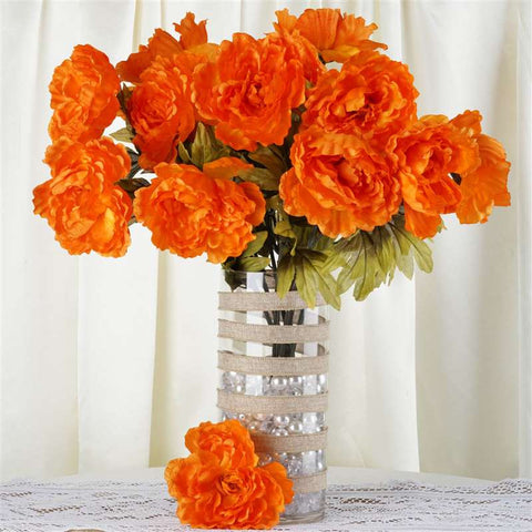 42 QUEEN Peony Flowers - Orange
