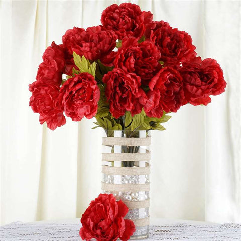 42 QUEEN Peony Flowers - Red