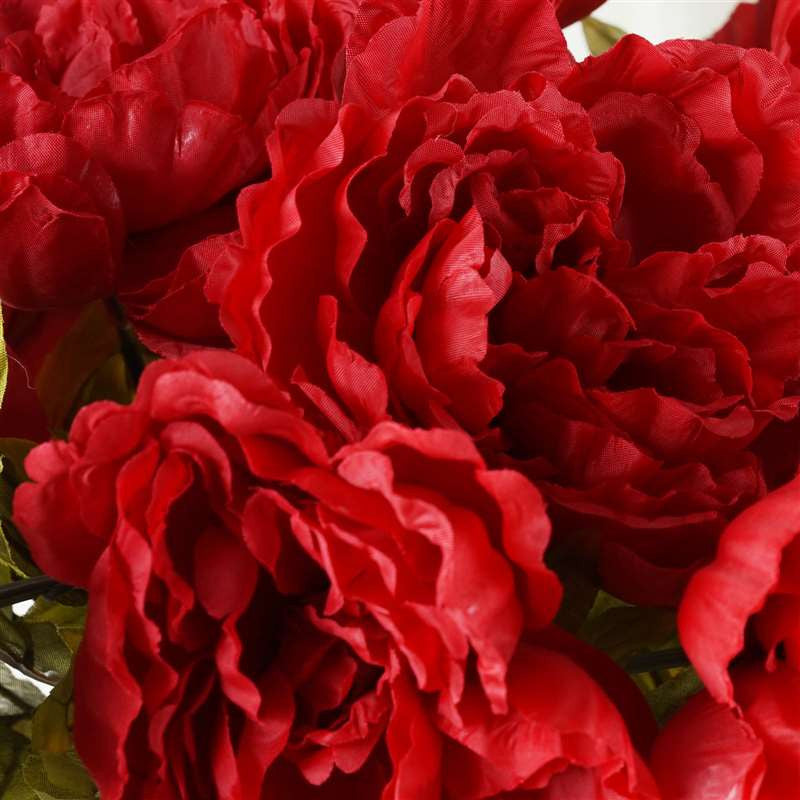 42 Artificial Queen Peony Flowers Wedding Vase Centerpiece Decor - Red