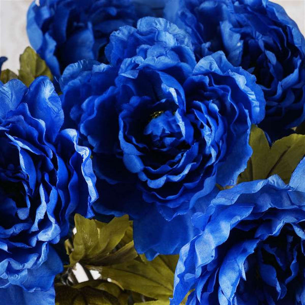 42 Artificial Queen Peony Flowers Wedding Vase Centerpiece Decor - Royal Blue