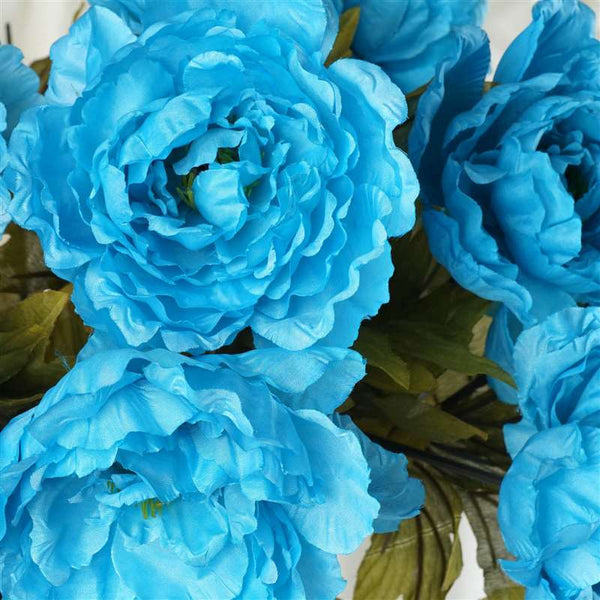 Large Peony Bush Artificial Silk Flowers - Turquoise