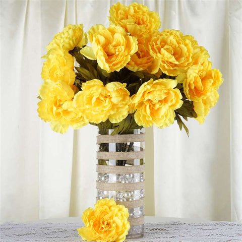 42 QUEEN Peony Flowers - Yellow