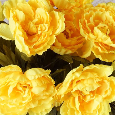 42 Artificial Queen Peony Flowers Wedding Vase Centerpiece Decor - Yellow
