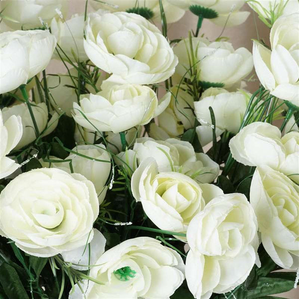 Ranunculus Bush Artificial Silk Flowers - Cream