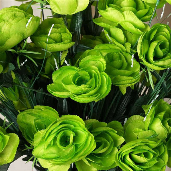 Ranunculus Bush Artificial Silk Flowers - Lime Green