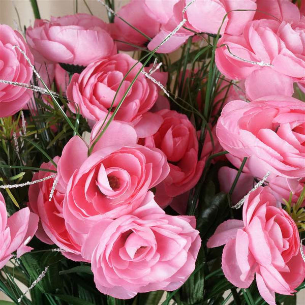 Ranunculus Bush Artificial Silk Flowers - Pink